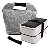 Fun Life Bento 2 Lier Lunch Box, 1200ML Food Storage Container, Stackable Meal Prep with Cutlery and A Insulated Bag…