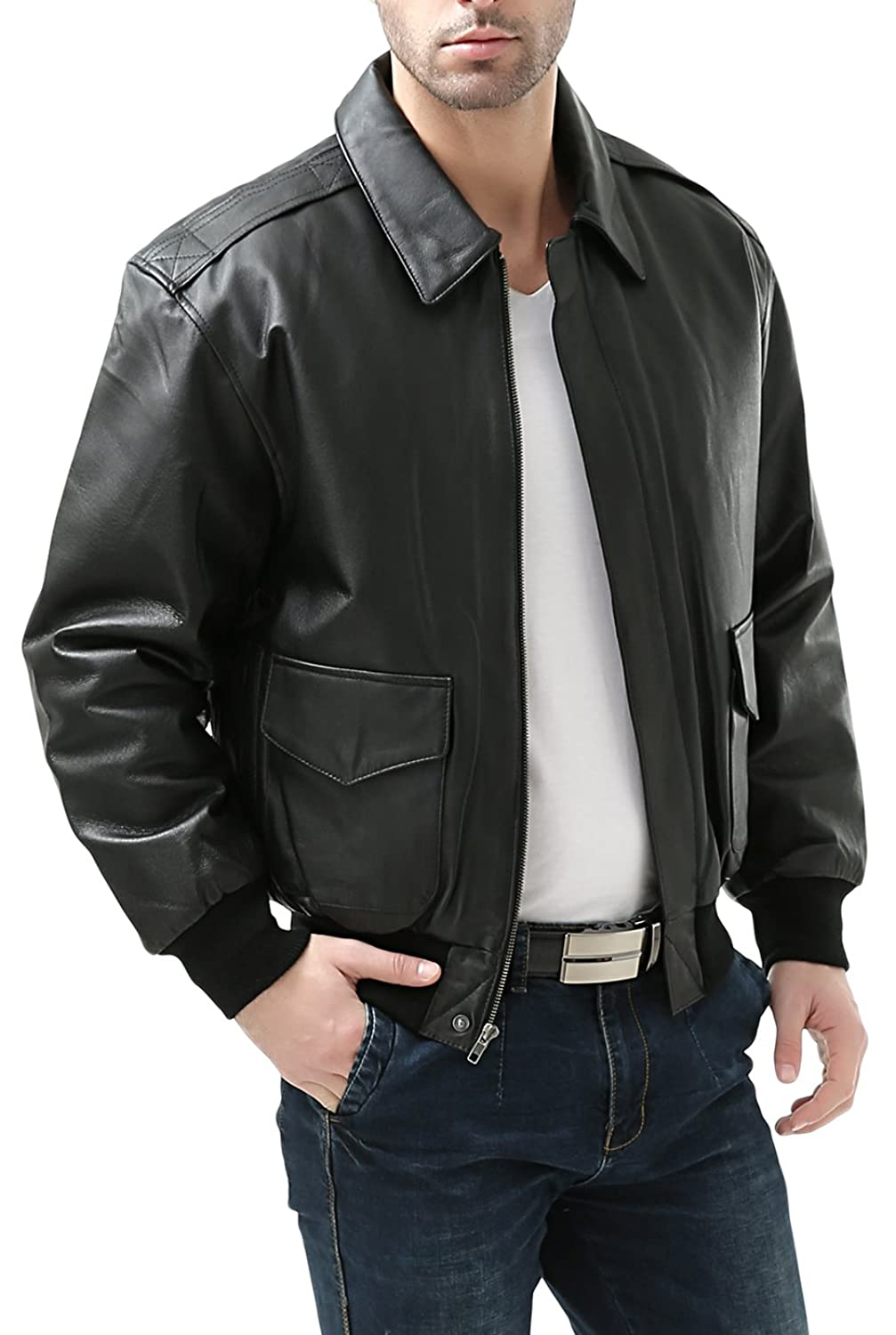 Landing Leathers Men's Air Force A-2 Leather Flight Bomber Jacket:  Amazon.ca: Clothing & Accessories