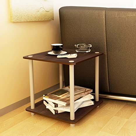 Amazon.com: TJTG - Mesa auxiliar de madera de 2 niveles para ...