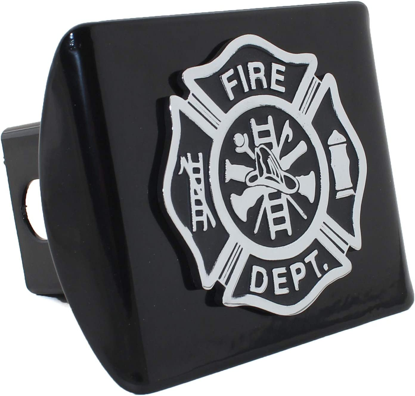Elektroplate Firefighter Black Emblem Black All Metal Hitch Cover