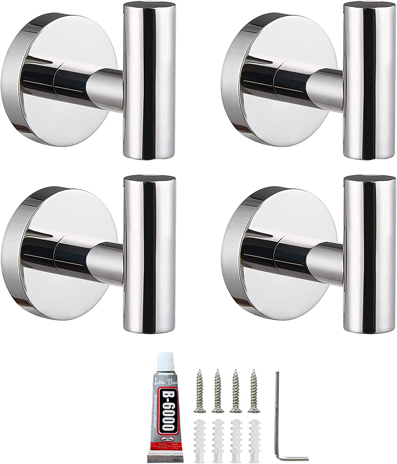4 Pack Towel Hooks Silver SUS304 Stainless Steel Polishied Modern Towel Hook Coat Robe Clothes Hooks Hanger for Bathroom Wall Mounted Kitchen Hotel Outdoor Showers Living Room Bedroom Holder