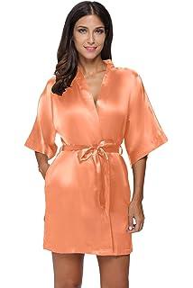 The Bund Women s Pure Colour Short Satin Kimono Robes with Oblique V-Neck e158e6dd5