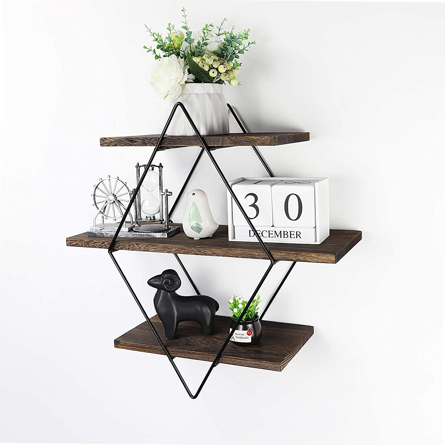 Befayoo Floating Shelves for Wall, Rustic Wood Geometric Style Decor Shelf for Bathroom Bedroom Living Room Kitchen Office (Diamond, Retro Brown)