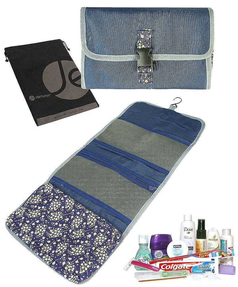 JAVOedgeフローラル印刷ポータブルHanging Travel Cosmetic Toiletry Foldupオーガナイザーバッグの女性メイクアップストレージ B01LWLDV7M ダークブルー