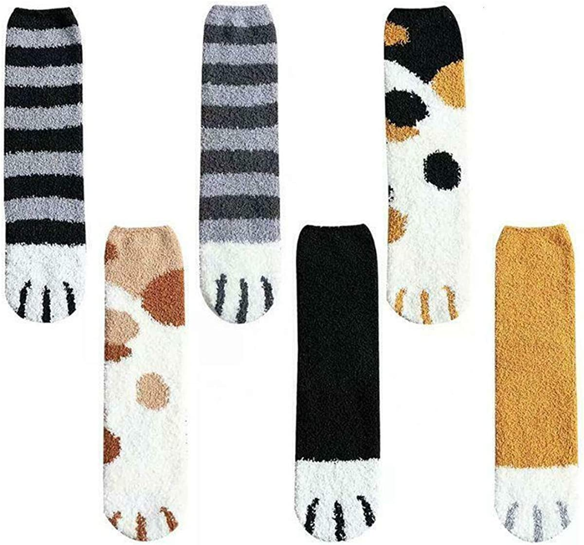 6 Pairs Cute Cat Claw Design Plush Cozy Slipper Sock for Womens Winter Indoor Warm Fuzzy Sleeping Socks, Thick Cotton Socks