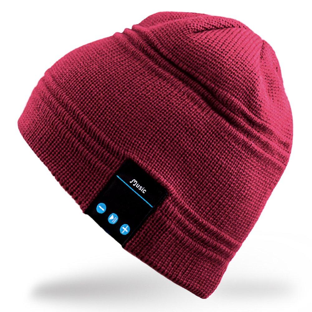 Rotibox Cappello Beanie Bluetooth, Cappellino Trendy Knit Short Trendy con Auricolare Bluetooth Headphone Auricolare Audio Music Hands-free chiamata telefonica per Outdoor Sport Fitness Ginnastica Workout Regalo di Natale - Rosso