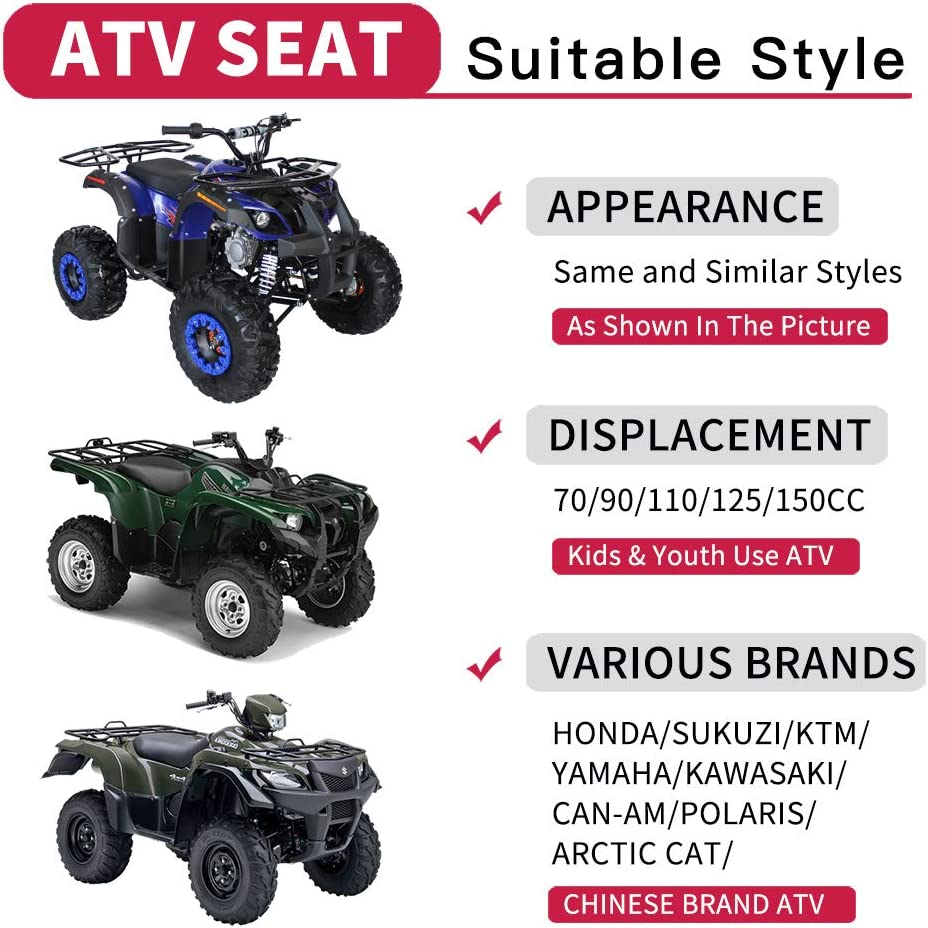 125cc TaoTao ATV Seat for 110cc 150cc Utility Style Coolster Chinese Quad Black Gloves
