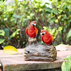 Jy.Cozy Garden Statues Red Sensor Parrots Decorative Resin Liberty Singing and Chirping Birds for Patio Lawn Yard 5.2 Inch Tall