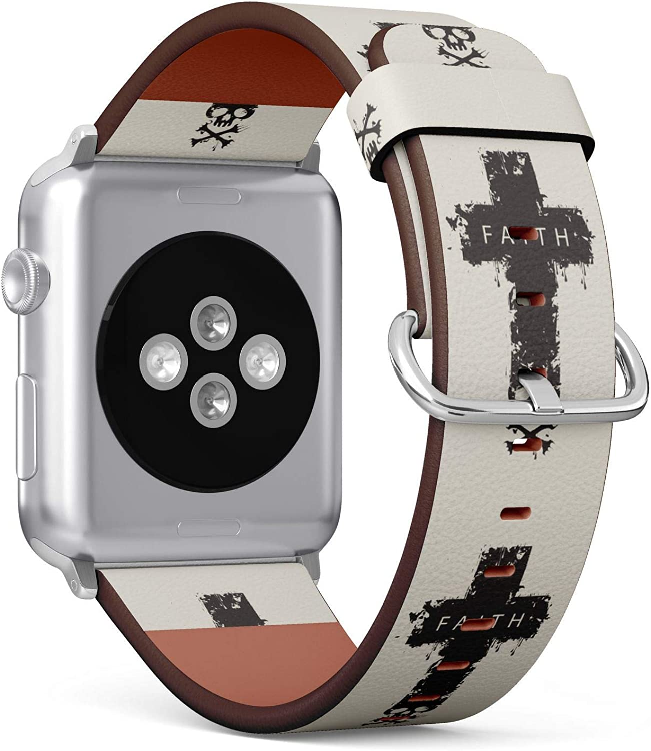 (Christian Cross with a Skull and Cross-Bones with Word Faith) Patterned Leather Wristband Strap for Apple Watch Series 4/3/2/1 gen,Replacement for iWatch 42mm / 44mm Bands