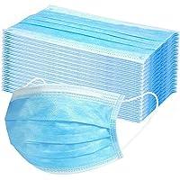 Máscarillas antipolvo, desechables, en 10/20/50/100/200 unidades, de 3 capas, mascarillas de gasa transpirables, para pintura o jardinería (50 unidades, color azul)