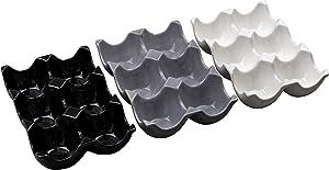 Three Color Stoneware Egg Holder Set (Black Gray White)