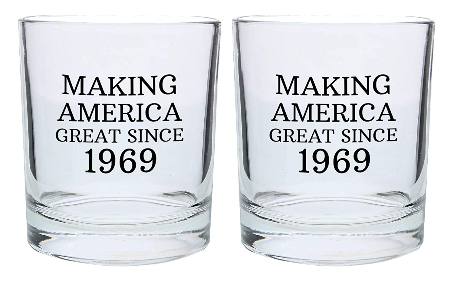 50th Birthday Gifts For Dad Mom Making America Great Since 1969 Party Supplies Gift Lowball Glasses 2 Pack Round Tumbler Set Black