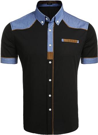 COOFANDY Camisa Masculina Camisa Hombre Algodon Camisa Inglesa Negro Talla-XL
