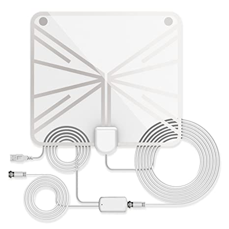 Indoor Amplified TV Antenna 60 to 70 Miles Range with Detachable Amplifier Signal Booster and 13.2