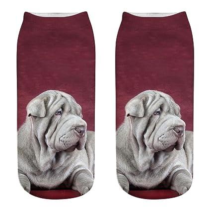Dibujos animados de perro 3d calcetines tobillo mujeres hombres bcdshop novedad Algodón Calcetines De Tamaño Mediano