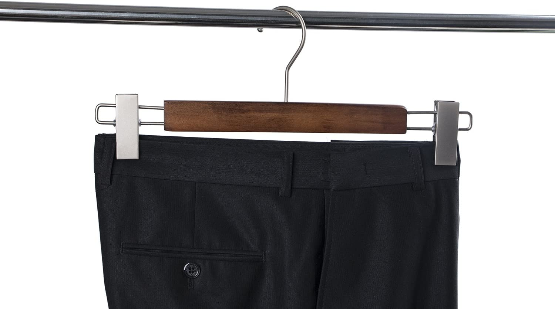 Zeal Hanger Maple Skirt Hangers Pearl Nickel Polished Hook Wooden Pants Hangers with Clamp Wood Trousers Hanger 10-Pack