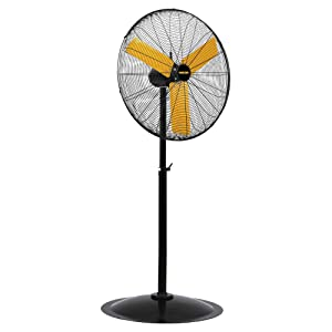 Master 30 Inch Industrial High Velocity Pedestal Fan-Direct Drive, All-Metal Construction with OSHA-Compliant Safety Guards, 3 Speed Settings (MAC-30P), Black