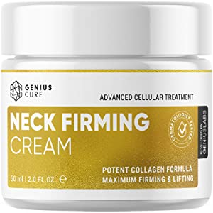 GENIUS Neck Firming Cream, Anti Aging Moisturizer for Neck & Décolleté, Double Chin Reducer, Skin Tightening Cream 2 fl oz.