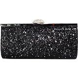Wocharm Fashion Womens Glitter Clutch Bag Sparkly Silver Gold Black Evening Bridal Prom Party Handbag Purse
