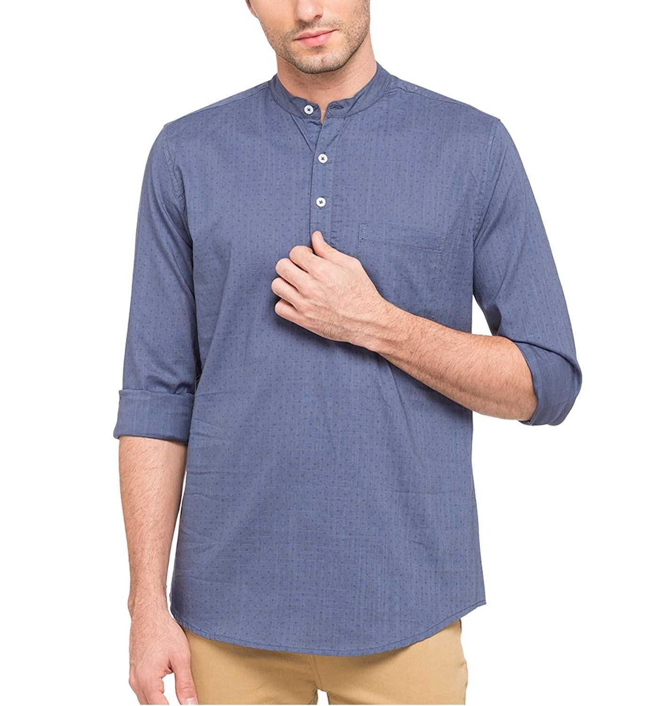8b61f67c375 nick jess mens ethnic wear   blue printed linen short kurta shirt