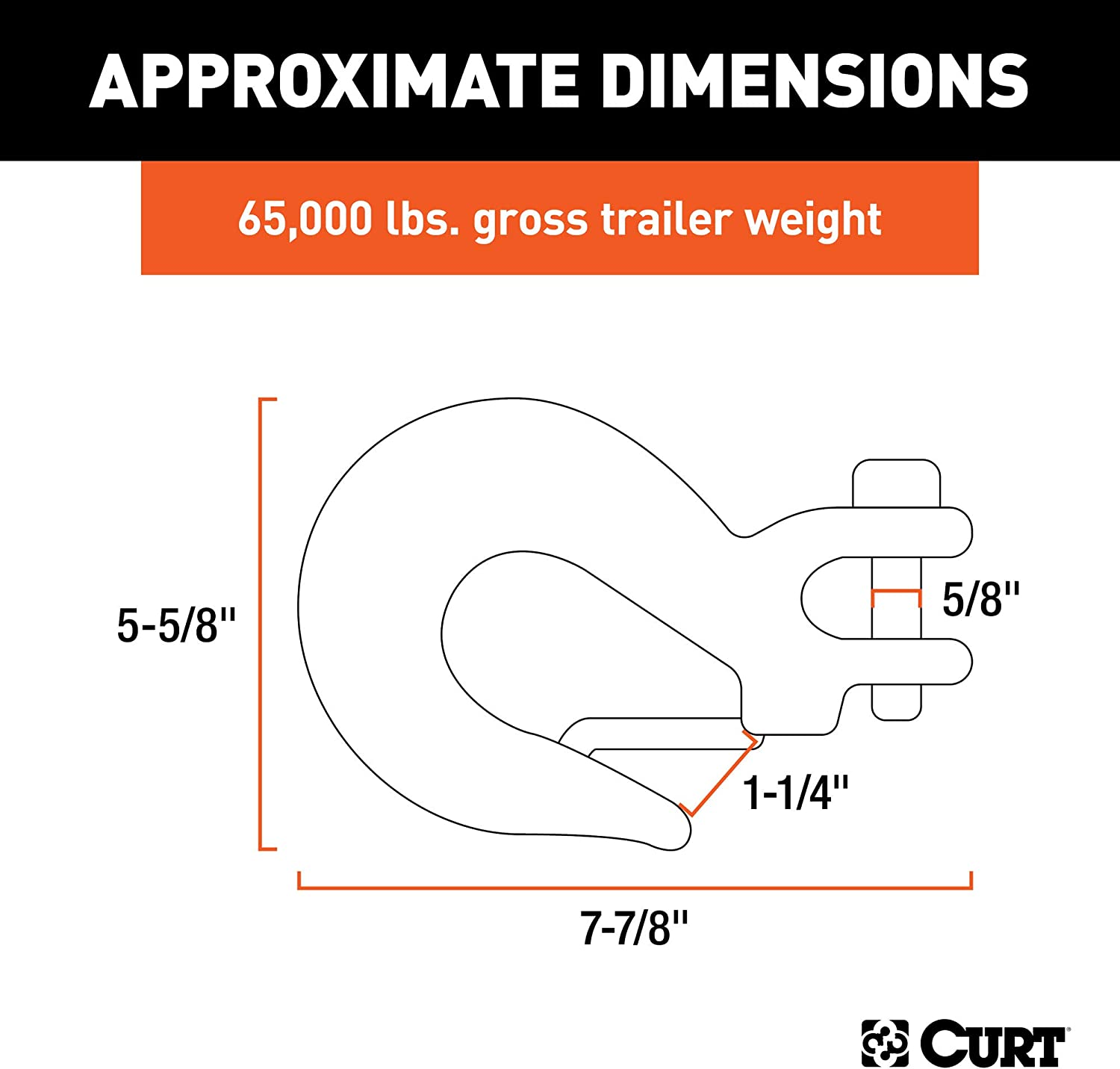 CURT 81920 5//8-Inch Forged Steel Clevis Slip Hook with Safety Latch 65,000 lbs 1-1//4-In Opening