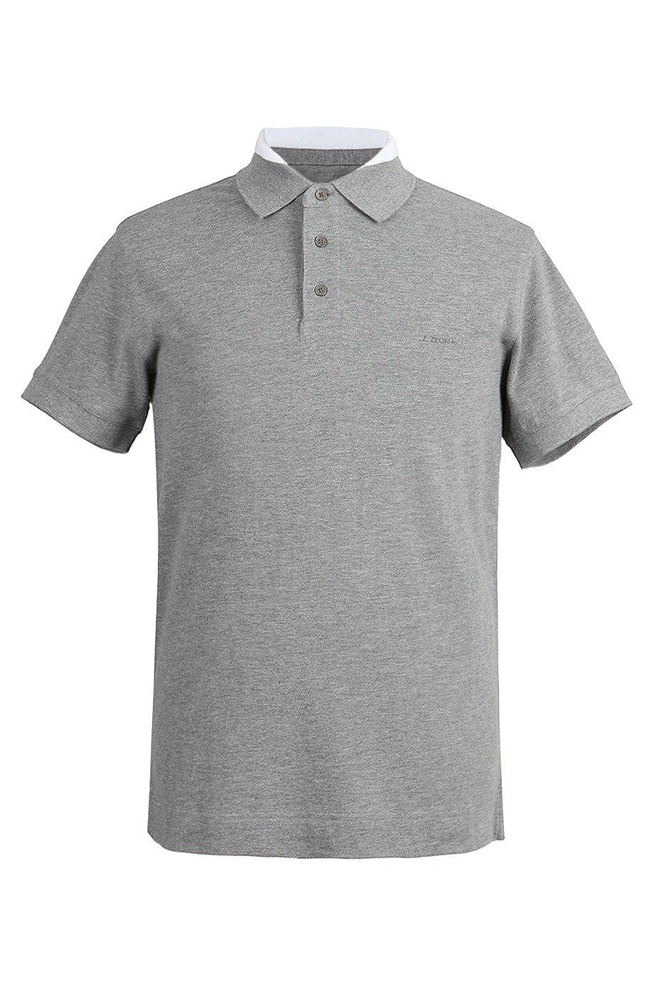 026b28c0 Z ZEGNA Gray Double Collar 100% Cotton Pique Short Sleeve Polo Logo ...