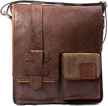 VÉLEZ 12342 Men Genuine Leather Crossbody Bag | Bandolera De Cuero Coffee