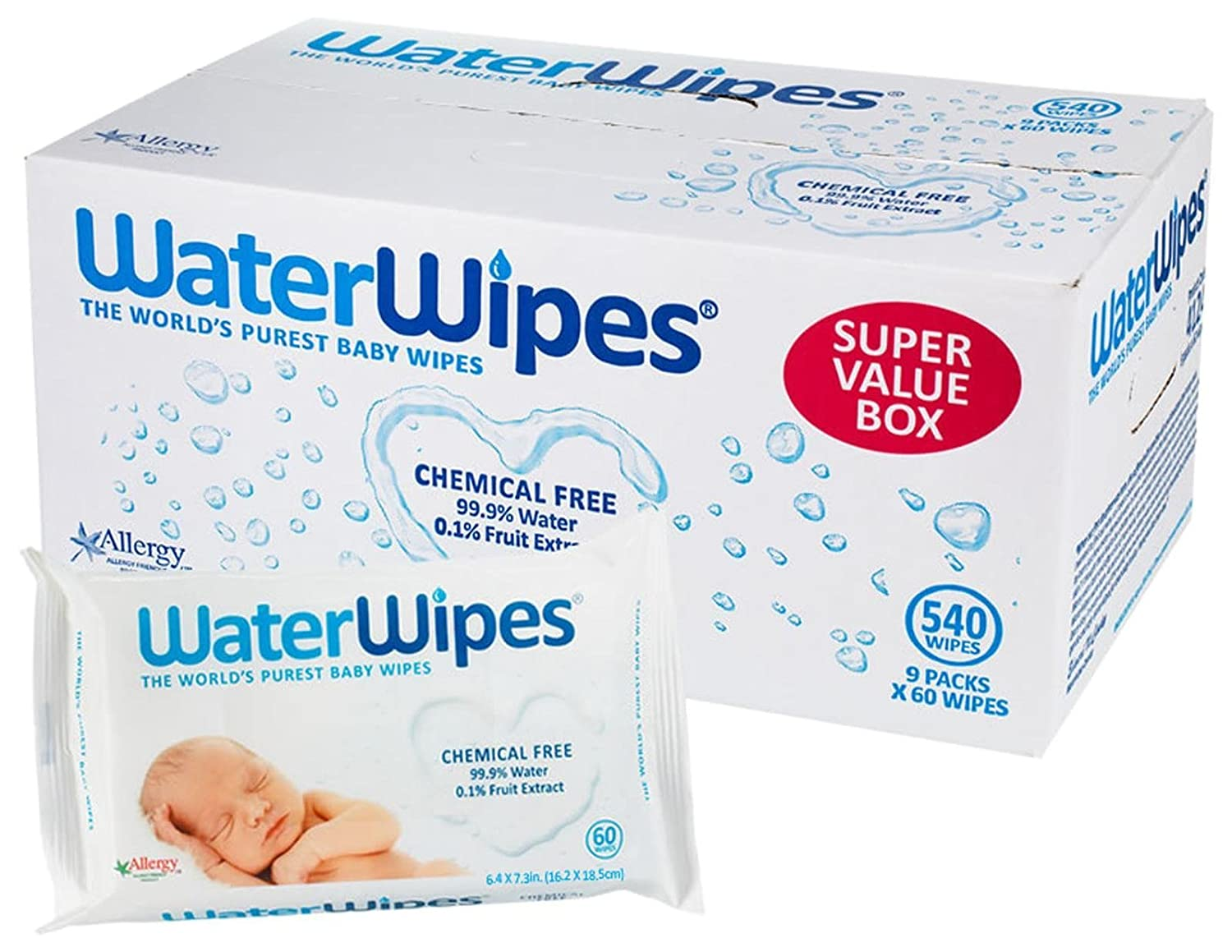 DermaH2O WaterWipes Wipes, 60 Count (Pack of 9) 4137