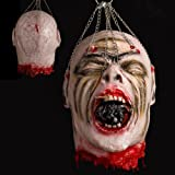 Hootech Halloween Decorations Severed Head Cut off Corpse Head Props Hanging Bloody Gory Latex Zombie Party Supplies