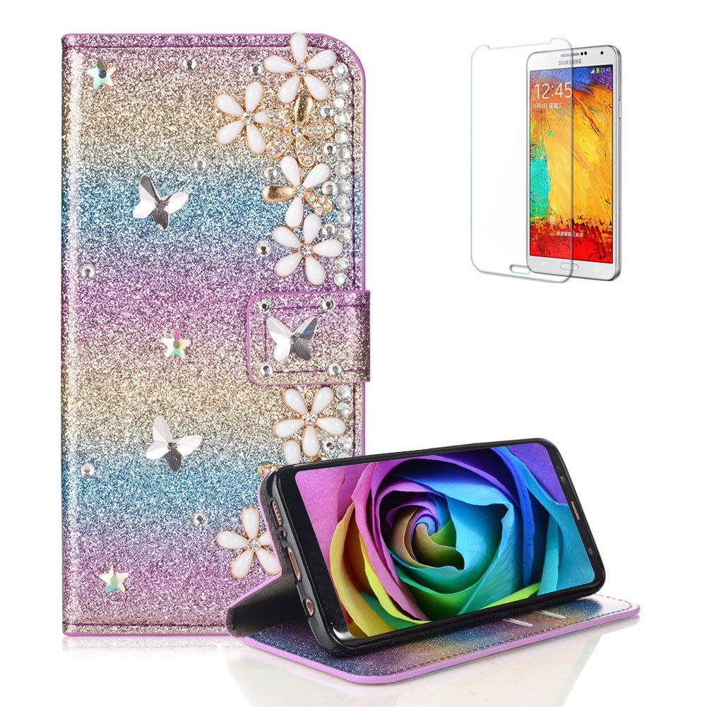 Funyye 3D Pearl Rhinestone Glitter Cover for Samsung Galaxy A8 2018, Rainbow Pink Bling Diamond Lucky Butterfly Flower Magnetic Flip Wallet Cover with Stand Credit Card Silicone PU Leather Case for Samsung Galaxy A8 2018, Shockproof Non Slip Full Body Prot
