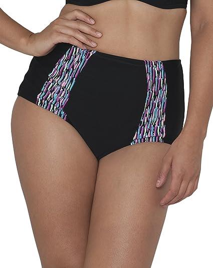 61123f10d530e Curvy Kate Women's Galaxy High Waisted Brief Bikini Bottom, Black, ...