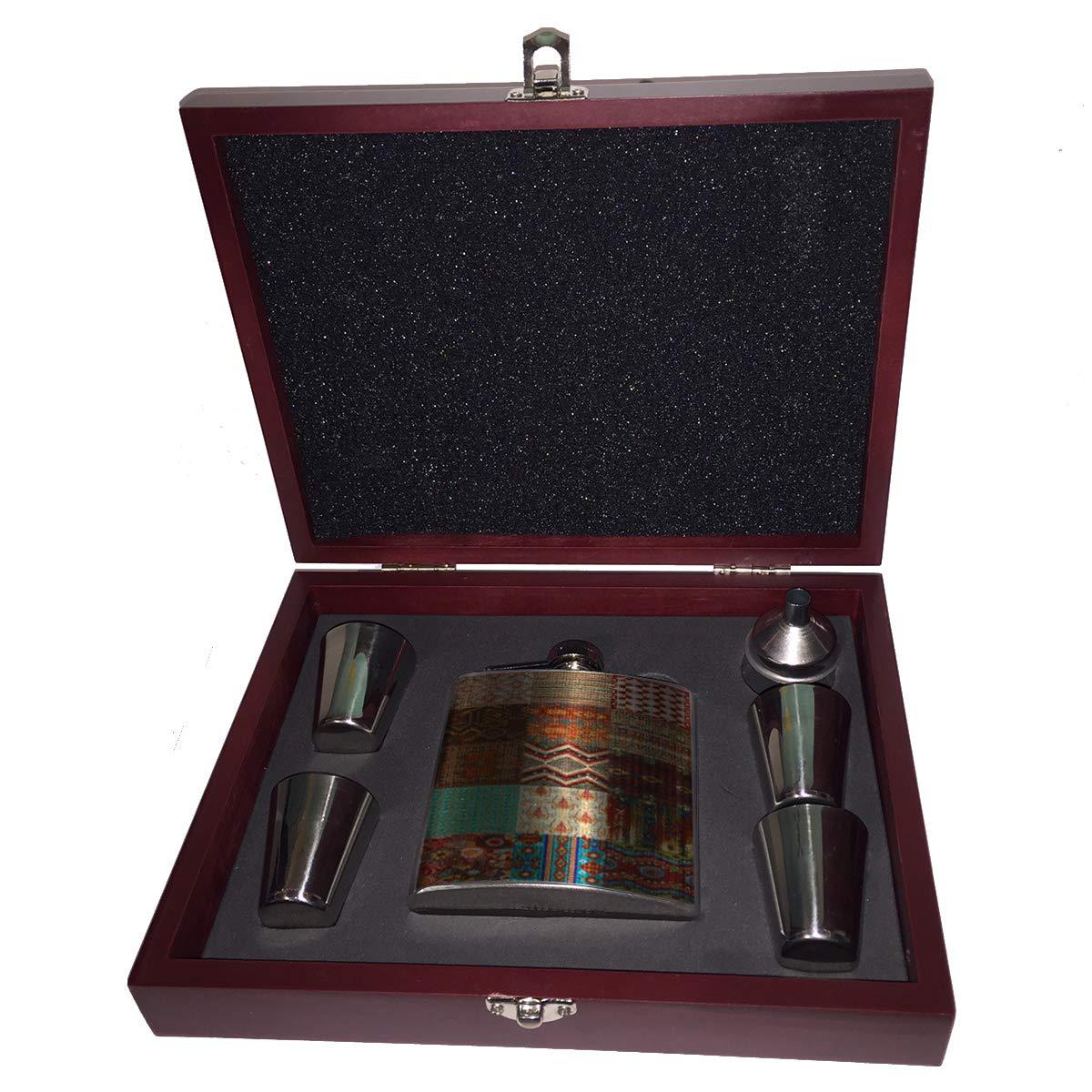 最新作 Sunshine 6オンス Cases 南西部のパッチワーク ギフトセット 6オンス ヒップフラスコ Liquor ヒップフラスコ 木製ボックス ギフトセット ショットグラス&じょうご B07KVHZVSW, 家具のk1:478bf0cd --- a0267596.xsph.ru