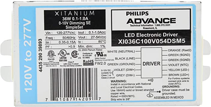 XI036C100V054DSM5 Philips Advance Xitanium LED Electronic Driver 36W