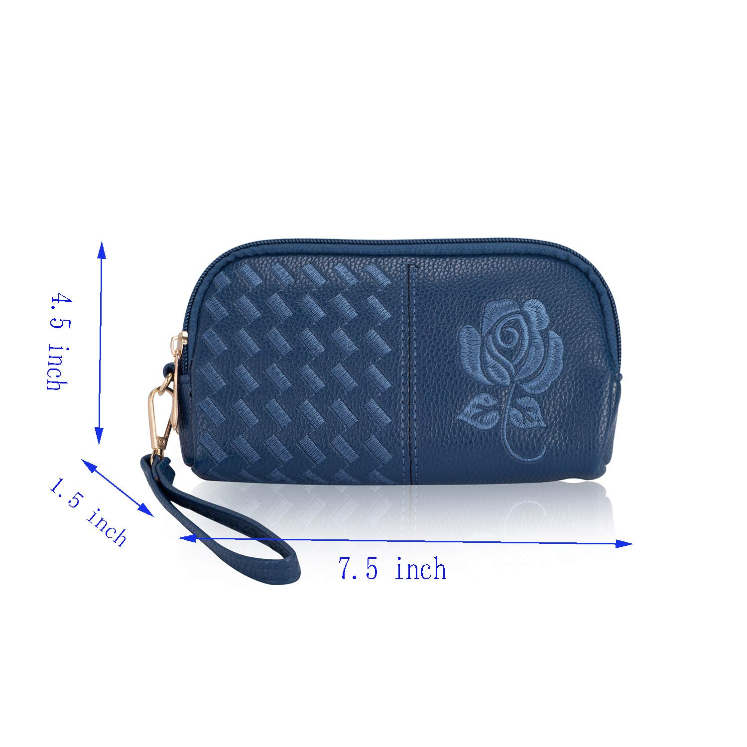 Wristlet Wallet with Strap for Women, Leather Wristlets Phone Purse Clutch for iphone (Wristlet blue) by JZE (Image #2)