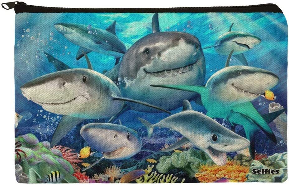Shark Ocean Selfie Pencil Pen Organizer Zipper Pouch Case