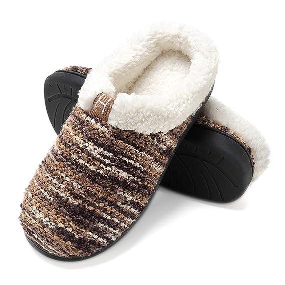7be338323eb FLY HAWK Slippers Ladies Man s Comfort Memory Foam House Slippers ...