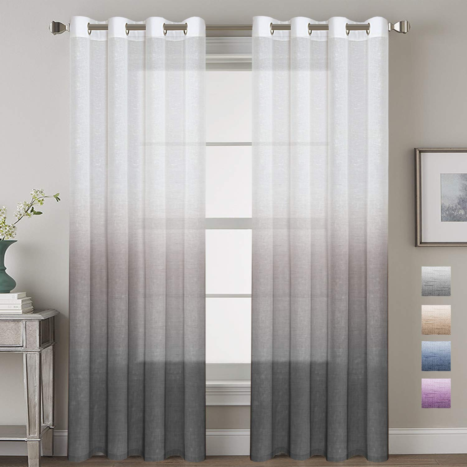 H.VERSAILTEX Linen Semi-Sheer Curtains Energy Efficient Privacy Protection Panels Ombre Natural Curtain Drapes with Tie-Back for Living Room, Grommet Top, Set of 2, 52x84-Inch, Gray
