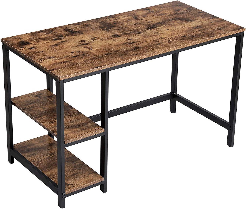 Benjara Wood and Metal Frame Computer Desk with 2 Shelves, Brown and Black