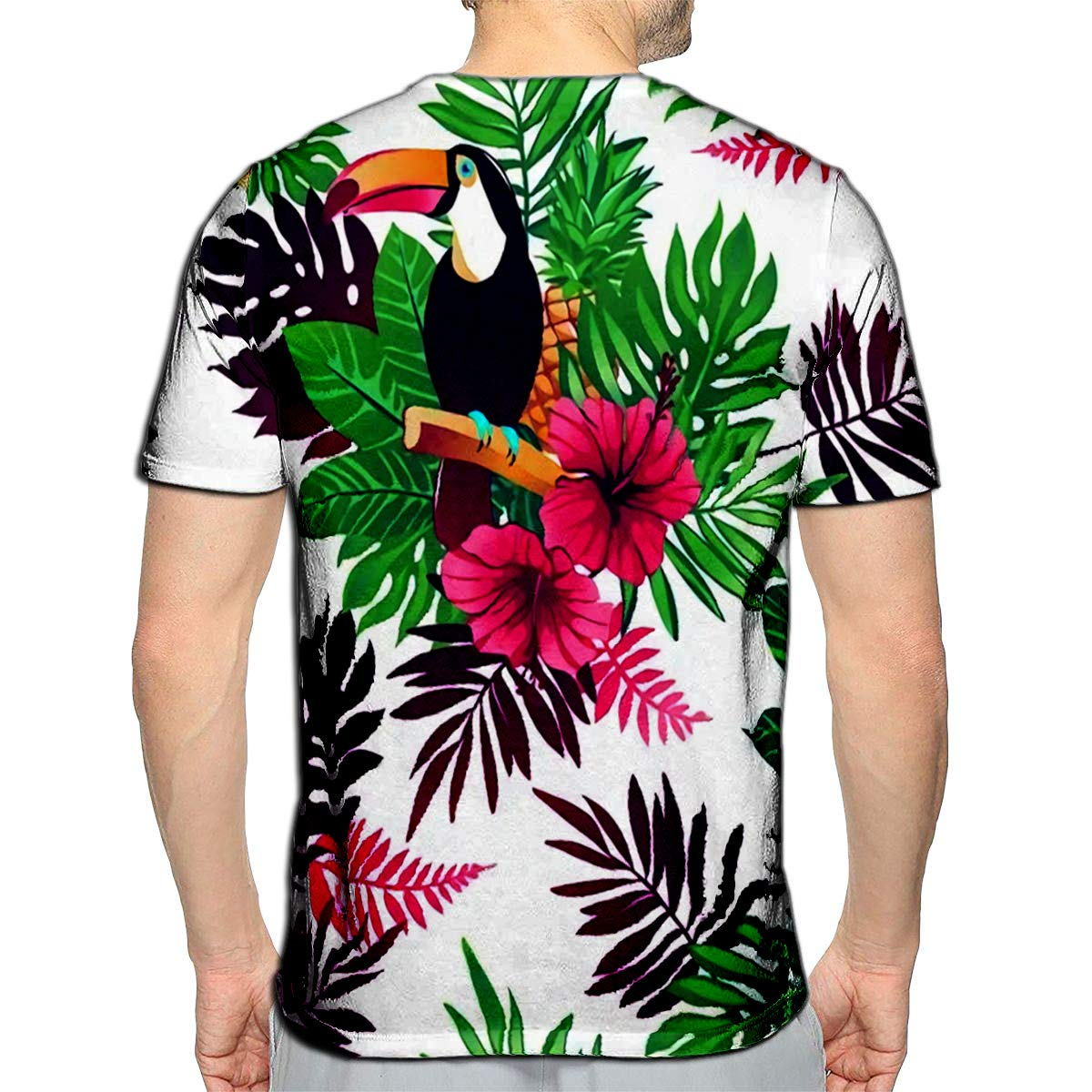 T-Shirt 3D Printed Tropical Trendy with Toucans Flamingos Exotic Flowers and Leaves Casual Tees