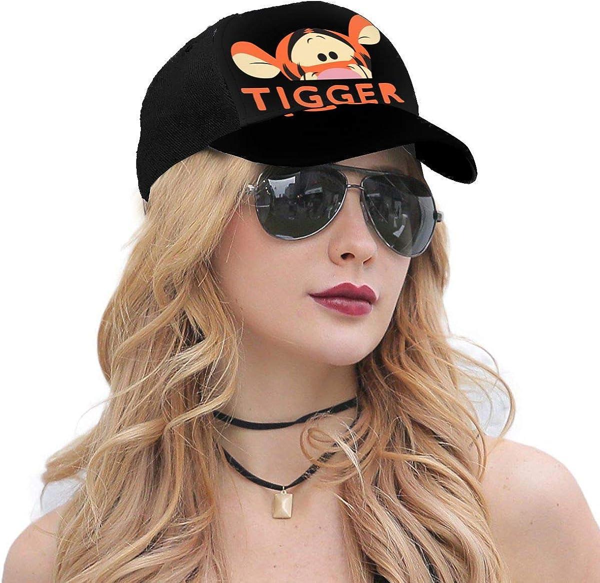 HJY-CUSTOM Win-nie The Pooh Peek A Boo/_Tigger Twill Adjustable Vintage Unisex Summer Baseball Hats for Men Black