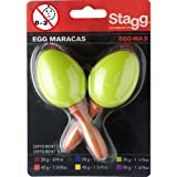 Stagg 13343 Pair of Short Handled Plastic Egg Maracas - Green