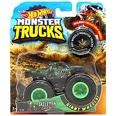 Hot Wheels 2020 RELEASE MONSTER JAM SKELETON CREW MONSTER TRUCK DIE-CAST WITH COLLECTIBLE WHEEL TOKEN: Toys & Games