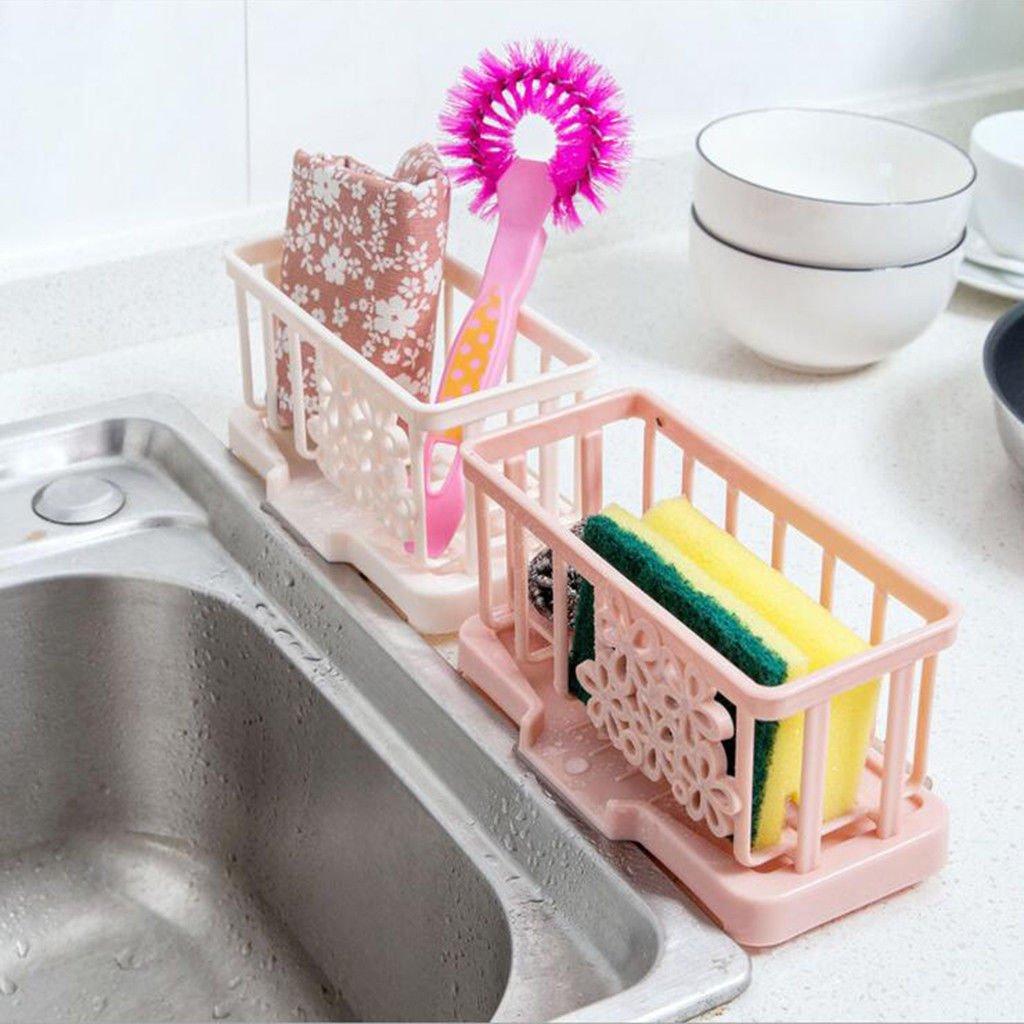 Bazzano Drain Water Kitchen Organizer Unique Tray Holder Storage Dish Drying Pink Green