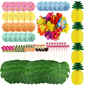 Kuuqa 112 Pcs Tropical Hawaiian Party Decorations Tissue Paper Pineapples Tropical Palm Leaves Hibiscus Flowers Drink Umbrella Picks And Cupcake