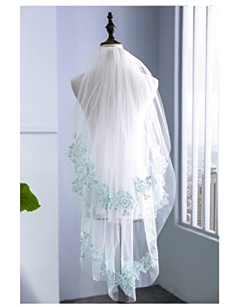 Wishopping Womens 2 Tier Short Blue Lace Wedding Bridal Veil With ...