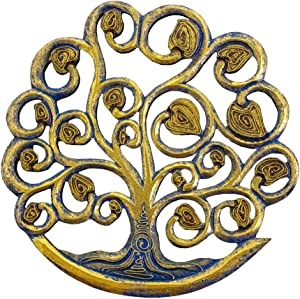 Tree of Life Wall Plaque Handcrafted Wooden Celtic Tree of Life Wall Decor Hanging Art 12 Inches Decorative Celtic Garden Art Sculpture