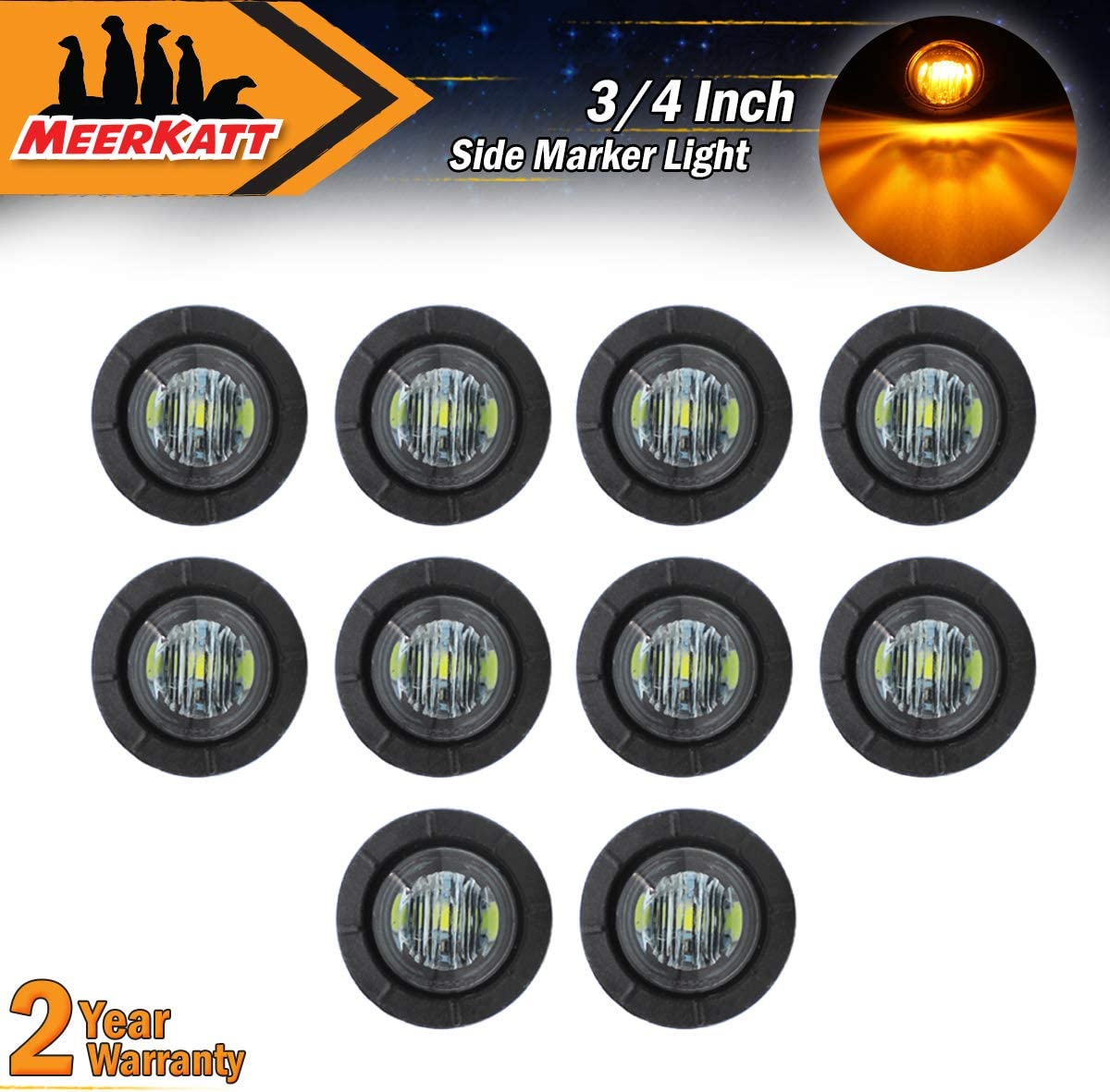 Pack of 50 Meerkatt 3//4 Inch Mini Round Smoked Lens Amber LED Side Marker Clearance Lamp Front Rear Indicator Light Waterproof Camper ATV SUV Truck Van Boat Trailer Lorry Jeep RV MPV Grommets 12V D