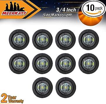3//4 Inch Mini Round Smoked Lens Amber LED Side Marker Indicator Light Universal Clearance Lamp RV Trailer Truck Boat Waterproof 12V DC included black rubber grommets BKY Meerkatt Pack of 100