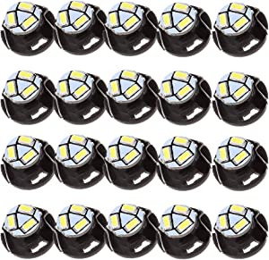 ROADFAR T5 12mm Neo LED Light Bulbs White Instrument Panel Gauge Cluster Dashboard Lights HVAC Climate Control Light,20Pcs