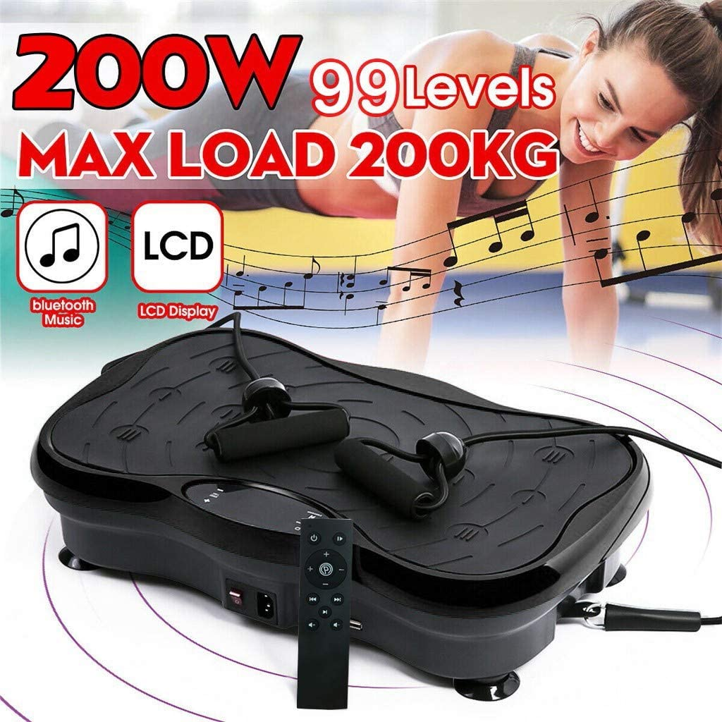 USThirty 【Fast Delivey】 LCD Display 8 Auto Run Program Full Body Vibration Machine Plate Remote Controllable Platform Massager with Resistance Bands Bluetooth Connection Music Indoors Fitness